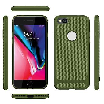 For iPhone 8 / iPhone 7 ENKAY ENK-PC026 Carbon Fiber Texture Solid Color TPU Slim Case Soft Cover(Green)