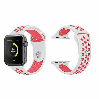 Banda deportiva de reemplazo para Apple Watch - 42mm - Blanco con agujeros rosados