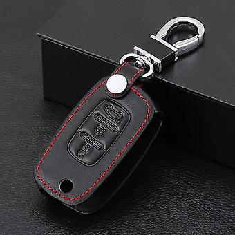 Car Flip Keys Leather Cases Fob Cover, Folding Key Chain Ring