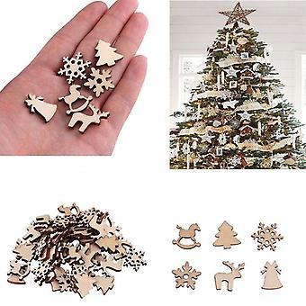 100pcsクリスマスデコレーション木製スノーフレーク - クリスマスツリー、鹿トロイの木馬
