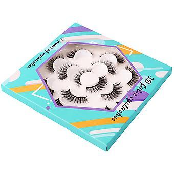YANGFAN 3D False Eyelashes 7 Pairs Lotus Plate Shape