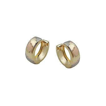 Hoop øredobber Diamond Cut Tri-farge 9k Gull