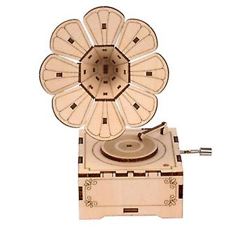 Children's Educational Assembling Toy Wooden Music Box Hand-cranked Music Box Crafts Children's Small Gifts Home Decoration
