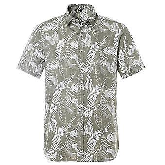Summer Pure Cotton Mens Loose Imprimate cămașă cu mânecă scurtă