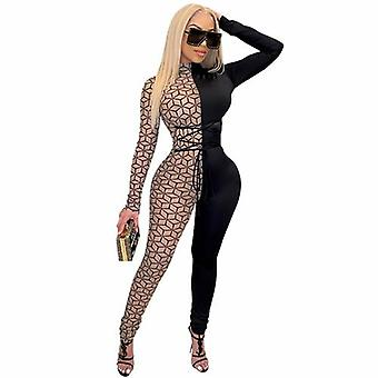 Printed Long Sleeve Bodycon Jumpsuit