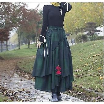 Blumendruck lange Baumwolle Leinen Rock, Frauen elastische Taille, Herbst unregelmäßig