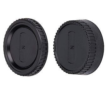 Jjc body cap + achterste lensdop set voor nikon f mount dslr camera's en nikon f mount lens systeem (1 set)