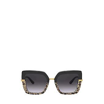 دولتشي & غابانا DG4373 أعلى أسود على طباعة ليو / نظارات شمسية أنثى سوداء