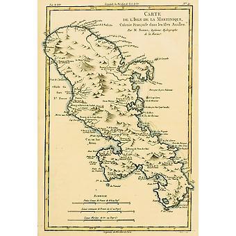Kart over Isle Of Martinique ca 1760 fra Atlas De Toutes Les partene Connues Du Globe Terrestre av Cartographer Rigobert Bonne publisert Genève ca 1760 PosterPrint