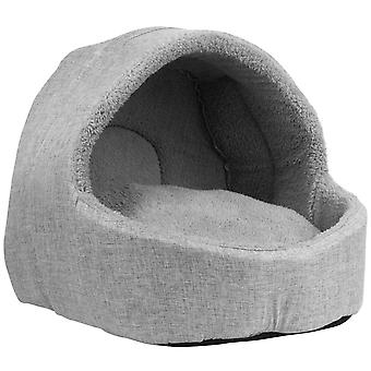 Soft Fleece Cat Igloo Bed - Grey