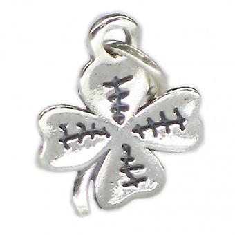 4 Blatt Kleeblatt Sterling Silber Charm .925 X 1 Lucky Shamrocks Charms - 3743