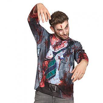 Shirt Zombie Freak Men Polyester Blue / Red Size M