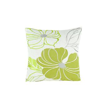 Floral Pattern Fabric Accent Pillow, Green And White