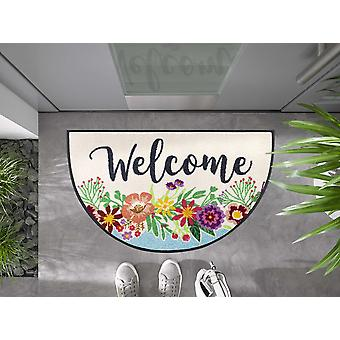 wash+dry paillasson Round Welcome Blooming demi-rond 50 x 85 cm