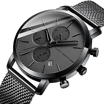Classic Business Men Watch Stopwatch Calendar Display 3ATM Waterproof Stainless