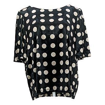 G By Giuliana Women's Top Velvet Pullover Round Neck Print Black 719-488