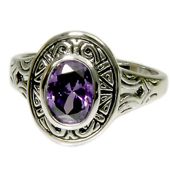 Aztec Design Bezel Set Amethyst Ring