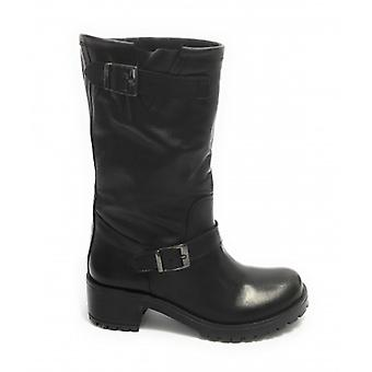 Women's Shoes Elite Boot Biker Bottom Carrarmato Black Calfskin D21el01