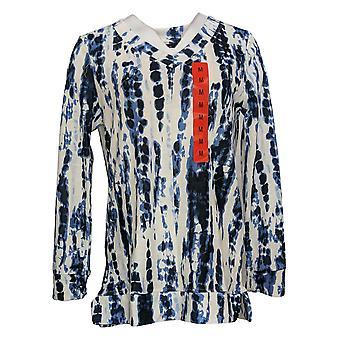Ellen Tracy Women's Printed Long Sleeves V-Neck Top w/Pkts Blue 1471507