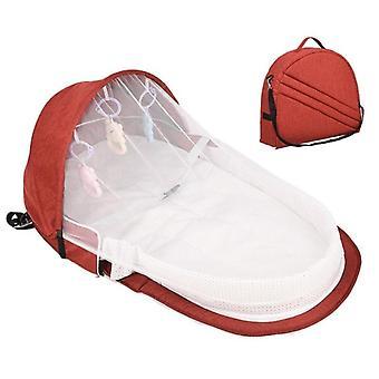 baby reise seng, solbeskyttelse myggnett, spedbarn sovekurv med