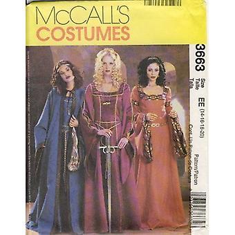 McCalls naaien patroon 3663 mist historische middeleeuwse jurken jurk kostuums maat 14-20 ongesneden