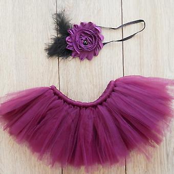 Newborn Photography Skirt, Baby Flower Headband Props