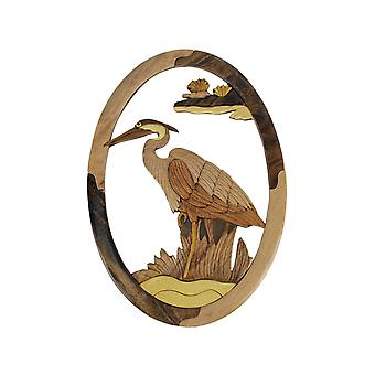 Hand Carved Wood Art Great Blue Heron Wall Hanging