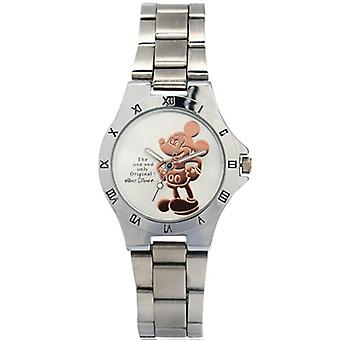 Микки Маус Золотые Серебряные часы со стальным поясом, начальной и средней школы