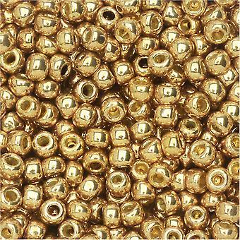 Toho Seed Beads, Round 8/0 #PF592 'Permafinish Galvanized Golden Fleece', 8 Grams
