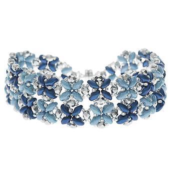 Bransoletka SuperDuo Blooms - Niebieski - Ekskluzywny zestaw biżuterii Beadaholique