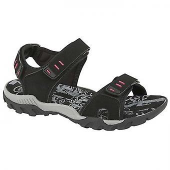 PDQ Sandy Ladies Faux Nubuck Velcro Sports Sandals Black