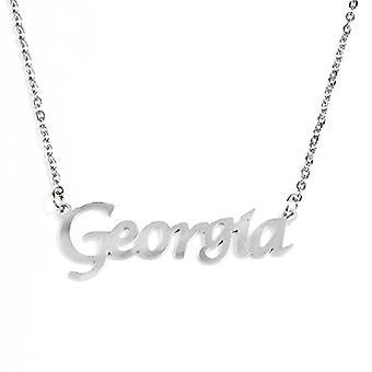 Kigu Georgia - Halsband med anpassat namn, färg: silver, justerbar kedja från 40,6 cm till 48,3 cm