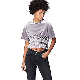 Amazon brand - find. Girocollo Corta Donna T-shirt, Silver (Silber), 48, Label: XL