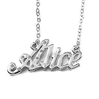 """L Alice - 18 Karat weiß vergoldete Halskette, mit anpassbarem Namen, verstellbare Kette von 16""""- 19"""", in Ref. 496330314219"""
