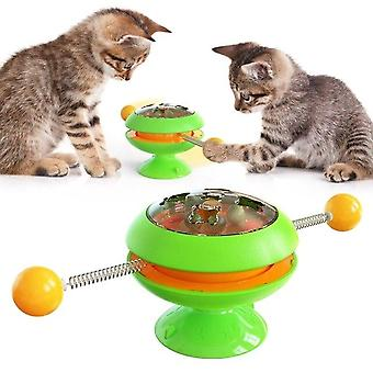 Windmill Toys For Cats Puzzle Whirling Turntable Play Game Toys Training Kitten (green)