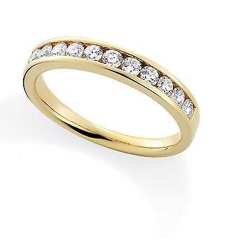 Jewelco London 18ct Yellow Gold Diamond 0.50ct Eternity Wedding Band Ring - 3.4mm