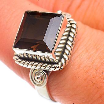 Smoky Quartz Ring Size 9 (925 Sterling Silver)  - Handmade Boho Vintage Jewelry RING66349