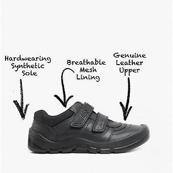 Start-Rite Rhino Warrior Boys Leather Touch Fasten School Shoes Black