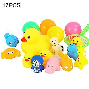 Ankka eläinkylpy lelut pikkulapsille, päätyvät kelluvia leluja(17KPL)