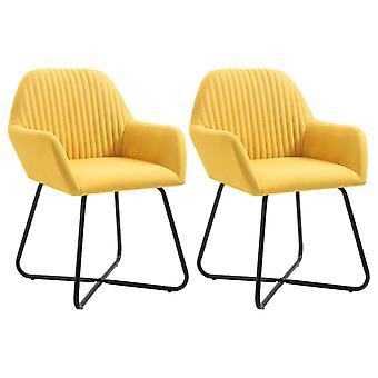 vidaXL Dining chairs 2 pcs. yellow fabric