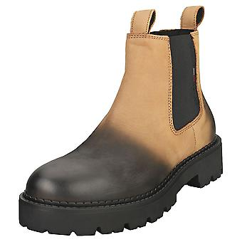 Tommy Jeans Brushed Chunky Mens Chelsea Boots en Cracked Earth Black