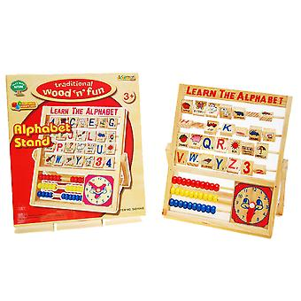 Retro Wooden Toy Alphabet Stand Abacus Children Counting Clock Educational