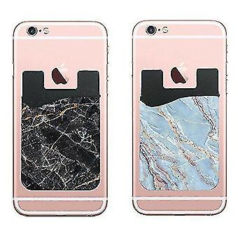 Marble track sets two marble cell phone stick on wallet card holder phone pocket for iphone  android and all