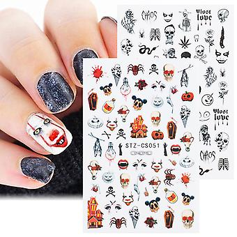 Venalisa New Halloween Dark Wind Or And Silver Ultra-mince Adhésif Autocollant d'ongle Skull Nail Decal