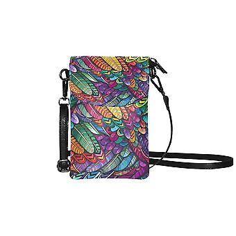 Small cell phone purse - colorful feathers