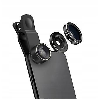 広角魚眼マクロ3-in-1セットのための携帯電話外部レンズ