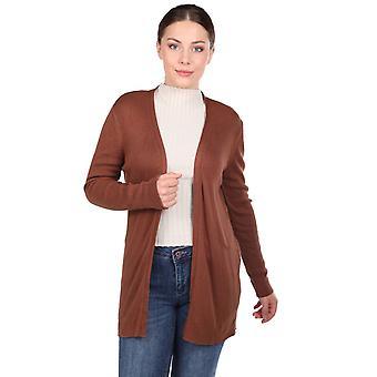 brun kvinners strikkevarer cardigan med åpne frontlommer