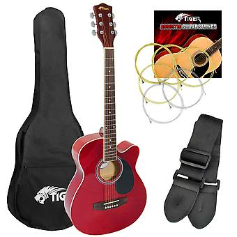 Tiger Full Size Acoustic Beginners Guitar Pack, with Bag, Strap &