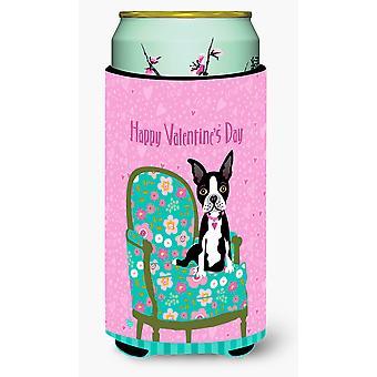 Feliz día de San Valentín de Boston Terrier chico alto bebidas aislador Hugger