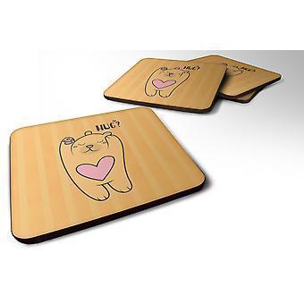 Carolines Treasures  BB7470FC Set of 4 Nursery Hug Bear Foam Coasters Set of 4